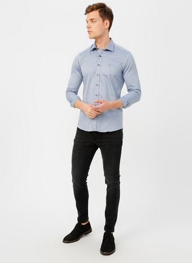Beymen Business 4B2020200007 Mavi Slim Fit Gömlek Armürlü Lacivert